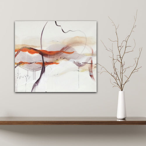 Abstract expressionist art on a panel with a twig- modern artwork