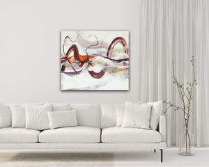 "Abstract expressionist art in contemporary white living room - modern artwork ""Loft I"". A modern acrylic painting by abstract artist Anja Stemmer. Visit my Picture Shop for affordable art online: Buy abstract paintings, modern acrylic paintings and works of abstract art on canvas or paper online. My high quality abstract art designs are hand painted."
