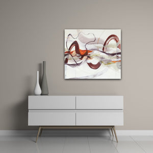 "Abstract expressionist art on a colored wall over a modern sideboard with two vases - modern artwork ""Loft I"". A modern acrylic painting by abstract artist Anja Stemmer. Visit my Picture Shop for affordable art online: Buy abstract paintings, modern acrylic paintings and works of abstract art on canvas or paper online. My high quality abstract art designs are hand painted."