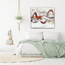 "Load image into Gallery viewer, Abstract expressionist art in a contemporary bedroom - modern artwork ""Loft I"". A modern acrylic painting by abstract artist Anja Stemmer. Visit my Picture Shop for affordable art online: Buy abstract paintings, modern acrylic paintings and works of abstract art on canvas or paper online. My high quality abstract art designs are hand painted."