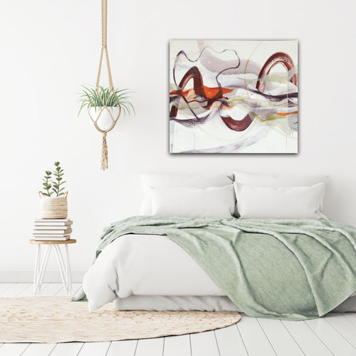 Abstract expressionist art in a contemporary bedroom - modern artwork