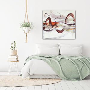"Abstract expressionist art in a contemporary bedroom - modern artwork ""Loft I"". A modern acrylic painting by abstract artist Anja Stemmer. Visit my Picture Shop for affordable art online: Buy abstract paintings, modern acrylic paintings and works of abstract art on canvas or paper online. My high quality abstract art designs are hand painted."