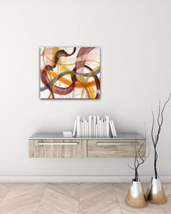 "Abstract expressionist art over modern sideboard with two vases - modern artwork ""Loft VIII"". A modern acrylic painting by abstract artist Anja Stemmer. Visit my Picture Shop for affordable art online: Buy abstract paintings, modern acrylic paintings and works of abstract art on canvas or paper online. My high quality abstract art designs are hand painted."