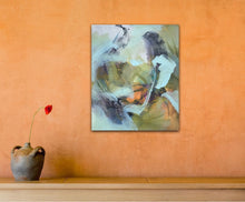 "Load image into Gallery viewer, Abstract expressionist art on an orange colored wall with a vase and a single red flower - modern artwork and abstract portrait ""Mystery"". A modern acrylic painting by abstract artist Anja Stemmer. Visit my Picture Shop for affordable art online: Buy abstract paintings, modern acrylic paintings and works of abstract art on canvas or paper online. My high quality abstract art designs are hand painted."