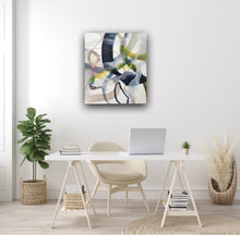 Load image into Gallery viewer, Abstract expressionist art in a home office  - modern artwork. A lyrical abstract acrylic painting by abstract artist Anja Stemmer. Visit my Picture Shop for affordable art online: Buy abstract paintings, modern acrylic paintings and works of abstract art on canvas or paper online. My high quality abstract art designs are hand painted.