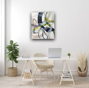 Abstract expressionist art in a home office  - modern artwork. A lyrical abstract acrylic painting by abstract artist Anja Stemmer. Visit my Picture Shop for affordable art online: Buy abstract paintings, modern acrylic paintings and works of abstract art on canvas or paper online. My high quality abstract art designs are hand painted.