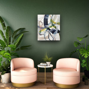 Abstract expressionist art on a green colored wall with rosé seats - modern artwork. A modern acrylic painting by abstract artist Anja Stemmer. Visit my Picture Shop for affordable art online: Buy abstract paintings, modern acrylic paintings and works of abstract art on canvas or paper online. My high quality abstract art designs are hand painted.