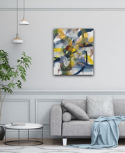 Load image into Gallery viewer, Abstract expressionist art above a grey modern sofa or couch in a living room- modern artwork. A modern acrylic painting by abstract artist Anja Stemmer. Visit my Picture Shop for affordable art online: Buy abstract paintings, modern acrylic paintings and works of abstract art on canvas or paper online. My high quality abstract art designs are hand painted.