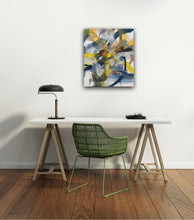 Load image into Gallery viewer, Abstract expressionist art for the home office shown above an office desk- modern artwork. A modern acrylic painting by abstract artist Anja Stemmer. Visit my Picture Shop for affordable art online: Buy abstract paintings, modern acrylic paintings and works of abstract art on canvas or paper online. My high quality abstract art designs are hand painted.