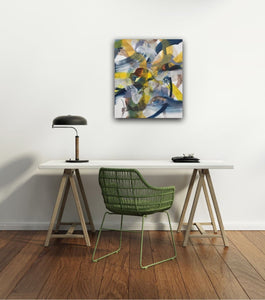 Abstract expressionist art for the home office shown above an office desk- modern artwork. A modern acrylic painting by abstract artist Anja Stemmer. Visit my Picture Shop for affordable art online: Buy abstract paintings, modern acrylic paintings and works of abstract art on canvas or paper online. My high quality abstract art designs are hand painted.