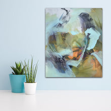 "Load image into Gallery viewer, Abstract expressionist art on a light blue colored wall with some succulents in front- modern artwork and abstract portrait ""Mystery"". A modern acrylic painting by abstract artist Anja Stemmer. Visit my Picture Shop for affordable art online: Buy abstract paintings, modern acrylic paintings and works of abstract art on canvas or paper online. My high quality abstract art designs are hand painted."
