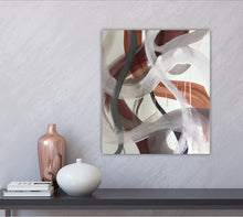 "Load image into Gallery viewer, Abstract expressionist art on light grey colored wall with home decor accessories- modern artwork ""Loft IV"". A modern acrylic painting by abstract artist Anja Stemmer. Visit my Picture Shop for affordable art online: Buy abstract paintings, modern acrylic paintings and works of abstract art on canvas or paper online. My high quality abstract art designs are hand painted."