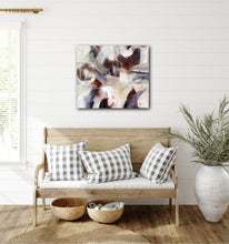 "Load image into Gallery viewer, Abstract expressionist art over a wooden bench  - modern artwork ""Loft III"". A modern acrylic painting by abstract artist Anja Stemmer. Visit my Picture Shop for affordable art online: Buy abstract paintings, modern acrylic paintings and works of abstract art on canvas or paper online. My high quality abstract art designs are hand painted."
