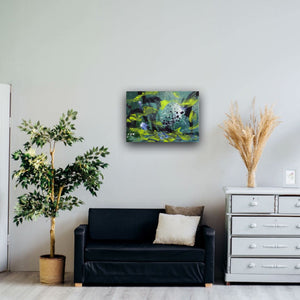 "Abstract expressionist art over a black sofa in a cozy appratment- modern artwork. ""Under Water"" A modern acrylic painting by abstract artist Anja Stemmer. Visit my Picture Shop for affordable art online: Buy abstract paintings, modern acrylic paintings and works of abstract art on canvas or paper online. My high quality abstract art designs are hand painted."