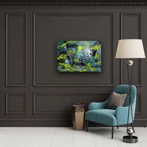 "Abstract expressionist art on a dark grey wall with a teal armchair - modern artwork. ""Under Water"" A modern acrylic painting by abstract artist Anja Stemmer. Visit my Picture Shop for affordable art online: Buy abstract paintings, modern acrylic paintings and works of abstract art on canvas or paper online. My high quality abstract art designs are hand painted."