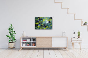 "Abstract expressionist art over a  modern sideboard  - modern artwork. ""Under Water"" A modern acrylic painting by abstract artist Anja Stemmer. Visit my Picture Shop for affordable art online: Buy abstract paintings, modern acrylic paintings and works of abstract art on canvas or paper online. My high quality abstract art designs are hand painted."