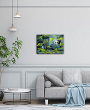 "Load image into Gallery viewer, Abstract expressionist art over a grey sofa - modern artwork. ""Under Water"" A modern acrylic painting by abstract artist Anja Stemmer. Visit my Picture Shop for affordable art online: Buy abstract paintings, modern acrylic paintings and works of abstract art on canvas or paper online. My high quality abstract art designs are hand painted."