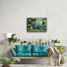 "Load image into Gallery viewer, Abstract expressionist art over a teal sofa in boho style - modern artwork. ""Under Water"" A modern acrylic painting by abstract artist Anja Stemmer. Visit my Picture Shop for affordable art online: Buy abstract paintings, modern acrylic paintings and works of abstract art on canvas or paper online. My high quality abstract art designs are hand painted."