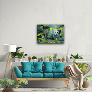 "Abstract expressionist art over a teal sofa in boho style - modern artwork. ""Under Water"" A modern acrylic painting by abstract artist Anja Stemmer. Visit my Picture Shop for affordable art online: Buy abstract paintings, modern acrylic paintings and works of abstract art on canvas or paper online. My high quality abstract art designs are hand painted."