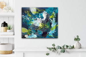 "Abstract expressionist artwork ""Aquamarine"" in blue, green and white colors,  next to a kitchen shelve - modern artwork. A modern acrylic painting by abstract artist Anja Stemmer. Visit my Picture Shop for affordable art online: Buy abstract paintings, modern acrylic paintings and works of abstract art on canvas or paper online. My high quality abstract art designs are hand painted."