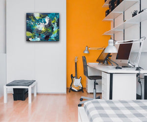 Abstract expressionist art in blue and teal in a young person's study and computer desk with an orange wall - modern artwork. A modern acrylic painting by abstract artist Anja Stemmer. Visit my Picture Shop for affordable art online: Buy abstract paintings, modern acrylic paintings and works of abstract art on canvas or paper online. My high quality abstract art designs are hand painted.