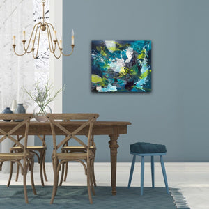 "Abstract expressionist artwork ""Aquamarine"" with blue, green and white organic shapes on a blue wall in a stylish dining room area - modern artwork. A modern acrylic painting by abstract artist Anja Stemmer. Visit my Picture Shop for affordable art online: Buy abstract paintings, modern acrylic paintings and works of abstract art on canvas or paper online. My high quality abstract art designs are hand painted."