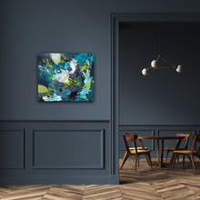 "Load image into Gallery viewer, Abstract expressionist artwork ""Aquamarine"" on a dark blue colored wall in a modern design interior - modern artwork. A modern acrylic painting by abstract artist Anja Stemmer. Visit my Picture Shop for affordable art online: Buy abstract paintings, modern acrylic paintings and works of abstract art on canvas or paper online. My high quality abstract art designs are hand painted."