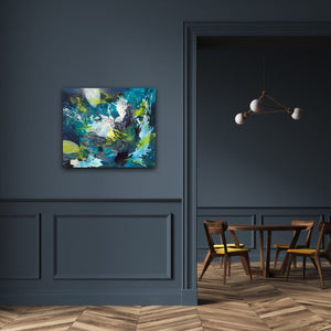 "Abstract expressionist artwork ""Aquamarine"" on a dark blue colored wall in a modern design interior - modern artwork. A modern acrylic painting by abstract artist Anja Stemmer. Visit my Picture Shop for affordable art online: Buy abstract paintings, modern acrylic paintings and works of abstract art on canvas or paper online. My high quality abstract art designs are hand painted."