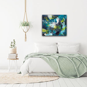 "Abstract expressionist art in a bedroom - modern artwork.""Aquamarine"" with blue, green and white organic shapes A colorful modern acrylic painting by abstract artist Anja Stemmer. Visit my Picture Shop for affordable art online: Buy abstract paintings, modern acrylic paintings and works of abstract art on canvas or paper online. My high quality abstract art  designs are hand painted."