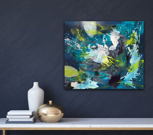 "Colorful abstract expressionist artwork ""Aquamarine""  on a colored wall in dark blue in a modern interior - modern artwork. A modern acrylic painting by abstract artist Anja Stemmer. Visit my Picture Shop for affordable art online: Buy abstract paintings, modern acrylic paintings and works of abstract art on canvas or paper online. My high quality abstract art designs are hand painted."