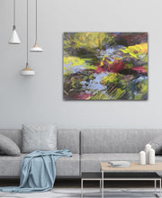 "Load image into Gallery viewer, Abstract expressionist artwork ""At the promenade"" above a modern couch and table  - modern artwork. A modern acrylic painting by abstract artist Anja Stemmer. Visit my Picture Shop for affordable art online: Buy abstract paintings, modern acrylic paintings and works of abstract art on canvas or paper online. My high quality abstract art designs are hand painted."
