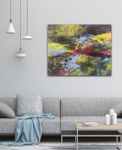 "Abstract expressionist artwork ""At the promenade"" above a modern couch and table  - modern artwork. A modern acrylic painting by abstract artist Anja Stemmer. Visit my Picture Shop for affordable art online: Buy abstract paintings, modern acrylic paintings and works of abstract art on canvas or paper online. My high quality abstract art designs are hand painted."