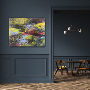 "Abstract expressionist artwork ""At the promenade"" on a colored wall in dark blue shades and retro living room interior- modern artwork. A modern acrylic painting by abstract artist Anja Stemmer. Visit my Picture Shop for affordable art online: Buy abstract paintings, modern acrylic paintings and works of abstract art on canvas or paper online. My high quality abstract art designs are hand painted."