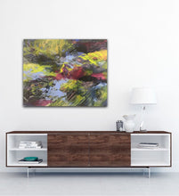 "Load image into Gallery viewer, Abstract expressionist artwork ""At the promenade"" above a modern sideboard with dark wood- modern artwork. A modern acrylic painting by abstract artist Anja Stemmer. Visit my Picture Shop for affordable art online: Buy abstract paintings, modern acrylic paintings and works of abstract art on canvas or paper online. My high quality abstract art designs are hand painted."