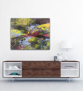 "Abstract expressionist artwork ""At the promenade"" above a modern sideboard with dark wood- modern artwork. A modern acrylic painting by abstract artist Anja Stemmer. Visit my Picture Shop for affordable art online: Buy abstract paintings, modern acrylic paintings and works of abstract art on canvas or paper online. My high quality abstract art designs are hand painted."