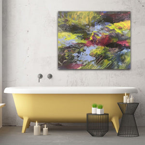 "Abstract expressionist artwork ""At the promenade"" in a bathroom above a yellow bathtub- modern artwork. A modern acrylic painting by abstract artist Anja Stemmer. Visit my Picture Shop for affordable art online: Buy abstract paintings, modern acrylic paintings and works of abstract art on canvas or paper online. My high quality abstract art designs are hand painted."