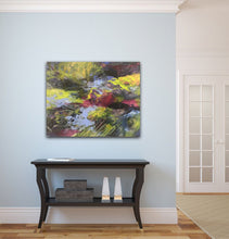 "Load image into Gallery viewer, Abstract expressionist artwork ""At the promenade"" on a light blue colored wall above a traditional black sideboard - modern artwork. A modern acrylic painting by abstract artist Anja Stemmer. Visit my Picture Shop for affordable art online: Buy abstract paintings, modern acrylic paintings and works of abstract art on canvas or paper online. My high quality abstract art designs are hand painted."