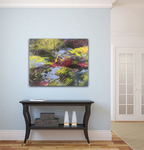 "Abstract expressionist artwork ""At the promenade"" on a light blue colored wall above a traditional black sideboard - modern artwork. A modern acrylic painting by abstract artist Anja Stemmer. Visit my Picture Shop for affordable art online: Buy abstract paintings, modern acrylic paintings and works of abstract art on canvas or paper online. My high quality abstract art designs are hand painted."