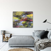 "Load image into Gallery viewer, Abstract expressionist artwork ""At the promenade"" above a grey lounge sofa in a modern design interior - modern artwork. A modern acrylic painting by abstract artist Anja Stemmer. Visit my Picture Shop for affordable art online: Buy abstract paintings, modern acrylic paintings and works of abstract art on canvas or paper online. My high quality abstract art designs are hand painted."