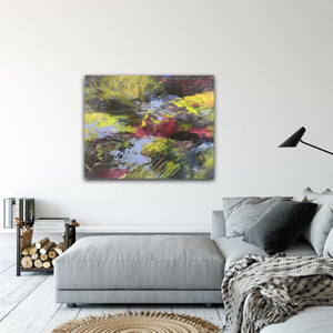 "Abstract expressionist artwork ""At the promenade"" above a grey lounge sofa in a modern design interior - modern artwork. A modern acrylic painting by abstract artist Anja Stemmer. Visit my Picture Shop for affordable art online: Buy abstract paintings, modern acrylic paintings and works of abstract art on canvas or paper online. My high quality abstract art designs are hand painted."