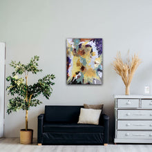 "Load image into Gallery viewer, Abstract expressionist art in a boho style flat over a black sofa- modern artwork ""Harlequin"". A modern acrylic painting by abstract artist Anja Stemmer. Visit my Picture Shop for affordable art online: Buy abstract paintings, modern acrylic paintings and works of abstract art on canvas or paper online. My high quality abstract art designs are hand painted."