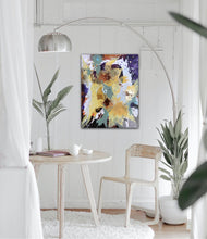 "Load image into Gallery viewer, Abstract expressionist art in a nordic design styled living room- modern artwork ""Harlequin"". A modern acrylic painting by abstract artist Anja Stemmer. Visit my Picture Shop for affordable art online: Buy abstract paintings, modern acrylic paintings and works of abstract art on canvas or paper online. My high quality abstract art designs are hand painted."