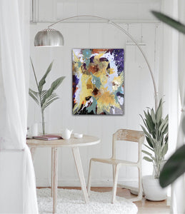 "Abstract expressionist art in a nordic design styled living room- modern artwork ""Harlequin"". A modern acrylic painting by abstract artist Anja Stemmer. Visit my Picture Shop for affordable art online: Buy abstract paintings, modern acrylic paintings and works of abstract art on canvas or paper online. My high quality abstract art designs are hand painted."