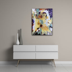 "Abstract expressionist art in modern interior design home above a white sideboard- modern artwork ""Harlequin"". A modern acrylic painting by abstract artist Anja Stemmer. Visit my Picture Shop for affordable art online: Buy abstract paintings, modern acrylic paintings and works of abstract art on canvas or paper online. My high quality abstract art designs are hand painted."