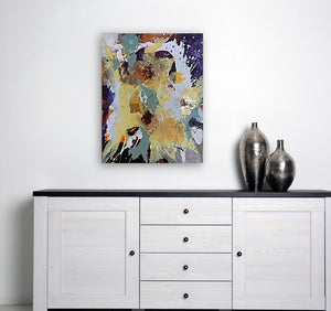 "Abstract expressionist art in modern design interior over a white modern sideboard with two silver vases- modern artwork ""Harlequin"". A modern acrylic painting by abstract artist Anja Stemmer. Visit my Picture Shop for affordable art online: Buy abstract paintings, modern acrylic paintings and works of abstract art on canvas or paper online. My high quality abstract art designs are hand painted."