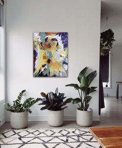 "Abstract expressionist art in an entrance hall with plants - modern artwork ""Harlequin"". A modern acrylic painting by abstract artist Anja Stemmer. Visit my Picture Shop for affordable art online: Buy abstract paintings, modern acrylic paintings and works of abstract art on canvas or paper online. My high quality abstract art designs are hand painted."