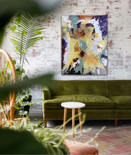 "Load image into Gallery viewer, Abstract expressionist art on a brick wall above an olive green boho chic sofa- modern artwork ""Harlequin"". A modern acrylic painting by abstract artist Anja Stemmer. Visit my Picture Shop for affordable art online: Buy abstract paintings, modern acrylic paintings and works of abstract art on canvas or paper online. My high quality abstract art designs are hand painted."