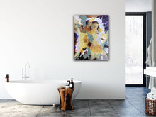 "Load image into Gallery viewer, Abstract expressionist art in a contemporary bathroom - modern artwork ""Harlequin"". A modern acrylic painting by abstract artist Anja Stemmer. Visit my Picture Shop for affordable art online: Buy abstract paintings, modern acrylic paintings and works of abstract art on canvas or paper online. My high quality abstract art designs are hand painted."