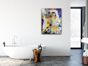 "Abstract expressionist art in a contemporary bathroom - modern artwork ""Harlequin"". A modern acrylic painting by abstract artist Anja Stemmer. Visit my Picture Shop for affordable art online: Buy abstract paintings, modern acrylic paintings and works of abstract art on canvas or paper online. My high quality abstract art designs are hand painted."