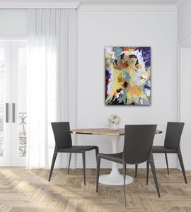 "Abstract expressionist art in a contemporary dining room - modern artwork ""Harlequin"". A modern acrylic painting by abstract artist Anja Stemmer. Visit my Picture Shop for affordable art online: Buy abstract paintings, modern acrylic paintings and works of abstract art on canvas or paper online. My high quality abstract art designs are hand painted."